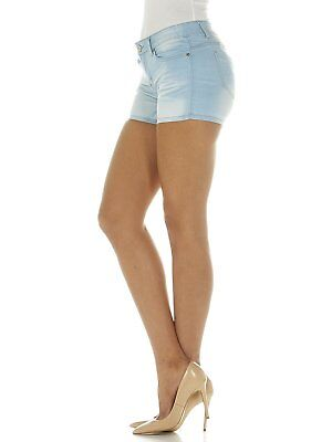 Girls Blue Denim Shorts - Cover Girl Jeans Women's Denim Shorts Mid Rise Light or Dark Blue Washes Stretch