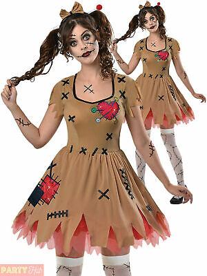 Ladies Voodoo Doll Broken Zombie Doll Costume Halloween Fancy Dress Women Outfit