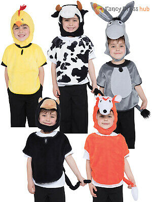Kids Farm Animal Costume Boys Girls Donkey Monkey Fancy Dress Costume Children