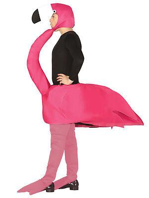 Adult Flamingo Costume Mens Ladies Novelty Animal Tropical Bird Fancy Dress Stag