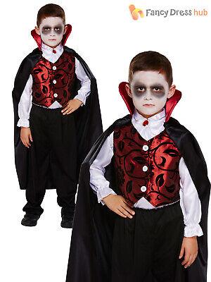 Childrens Deluxe Vampire Costume Boys Dracula Halloween Fancy Dress Kids