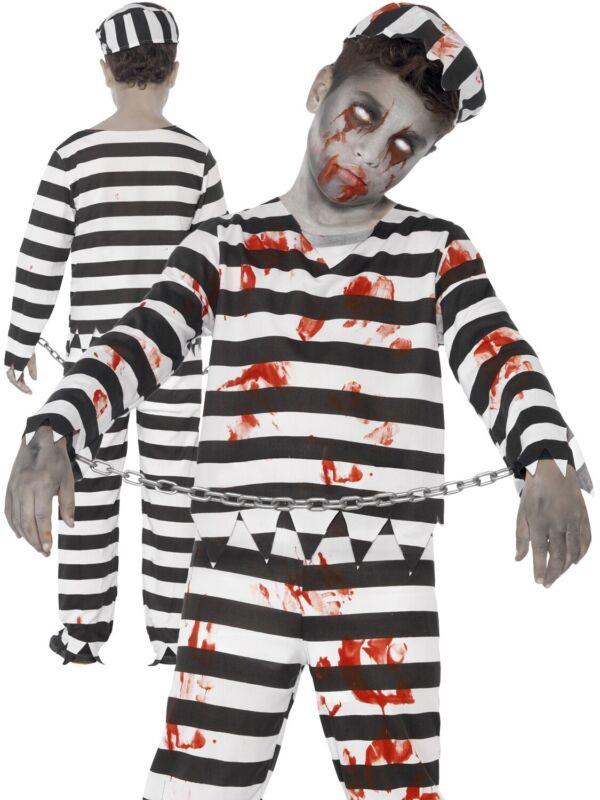 Boys Zombie Convict Costume Halloween Kids Prisoner Fancy Dress Outfit Childs