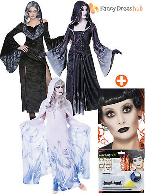 Ladies Ghost Soul Seeker Costume Adult Halloween Fancy Dress Demon + Make Up