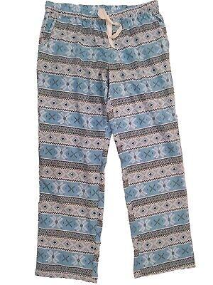 Womens Light Blue Knit Nordic Print Snowflake Sleep Pant Pocketed Pajama Bottoms - Knit Womens Sleep Pant
