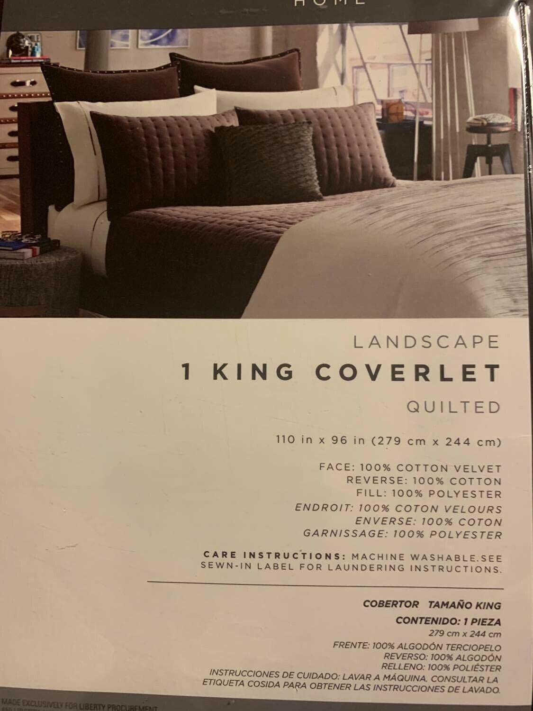 Kenneth Cole Reaction KING Landscape Velvet Coverlet only :