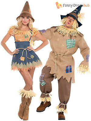 Character Couple Costumes (Mens Ladies Scarecrow Costume Book Week Day Character Fancy Dress Outfit)