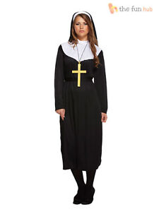 Ladies Nun Habit Costume Hen Party Fancy Dress Religious Sound of Music Outfit