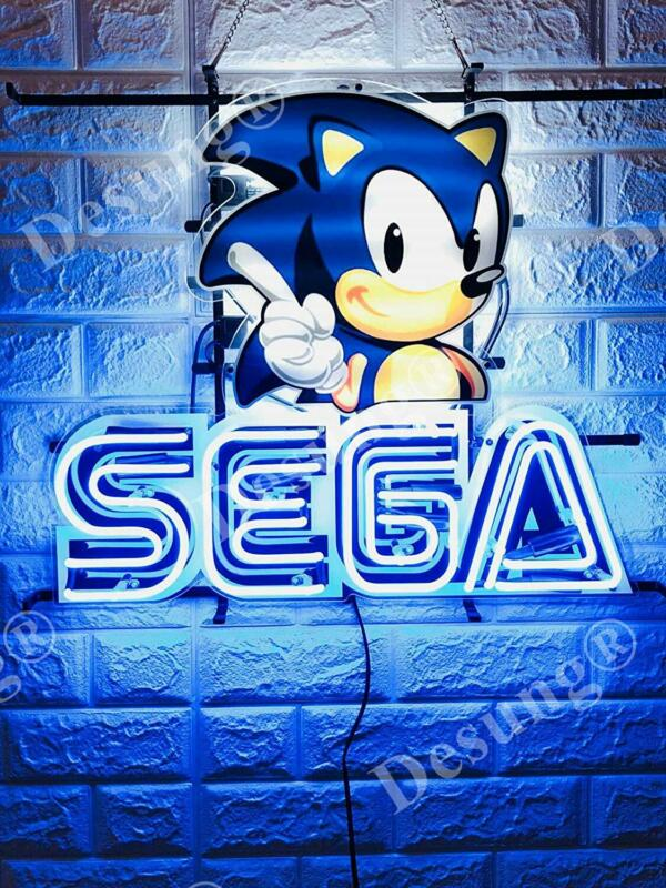"New Sega Sonic Video Game Light Lamp Neon Sign 20"" With HD Vivid Printing"