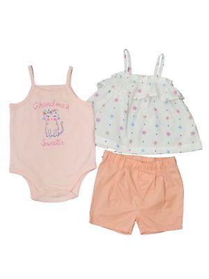 Infant Girls Baby Pink Peach Grandma Sweetie Top & Matching Shorts Outfit - Grandma Outfit