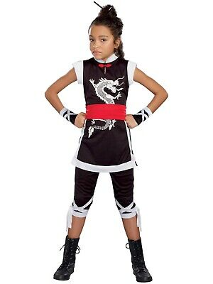 Dragon Costume For Girls (Girls Black & White Dragon Kung Fu Cutie Halloween)