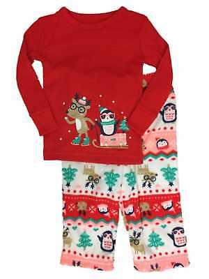 Infant & Toddler Girls Reindeer & Penguin Holiday Sleep Set Christmas Pajamas (Holiday Toddler Pajamas)