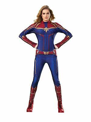 Captain Marvel Hero Blue Suit Superhero Fancy Dress Up Halloween Adult Costume
