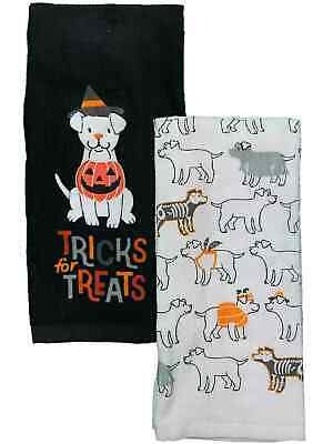 Celebrate Halloween Tricks For Treats Puppy Dog Dog Kitchen Towel Set, 2 Towels