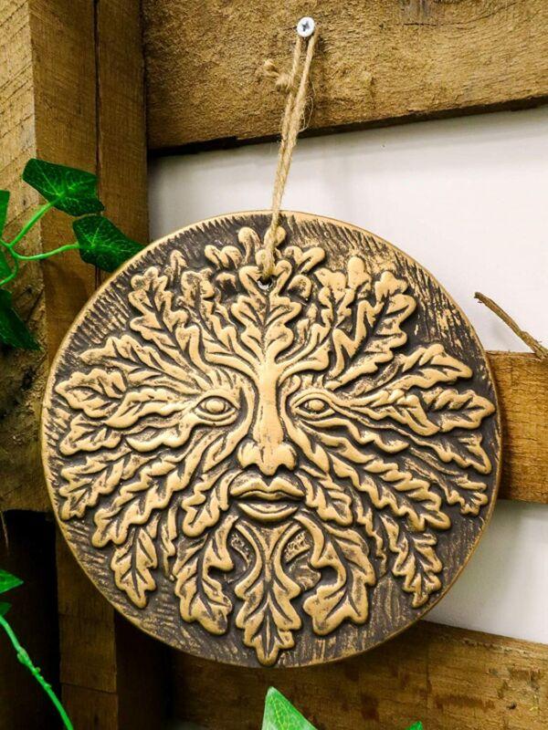 Ebros Nature Spirit God Celtic Greenman Terracotta Round Medal Wall Decor Plaque