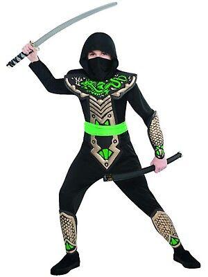 Jungen Drachen Ninja Samurai Kämpfer Krieger Halloween Kostüm 4-10 - Ninja Schwarz Drachen Kostüm