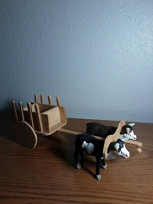 Vintage Antique Figurines And Wood Cart