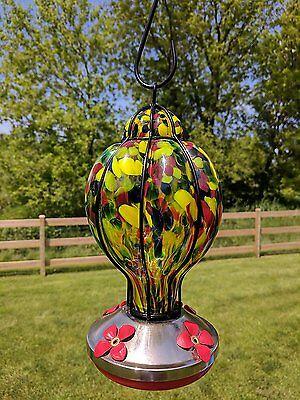 Gianna's Home Hand Blown Glass Hummingbird Feeder