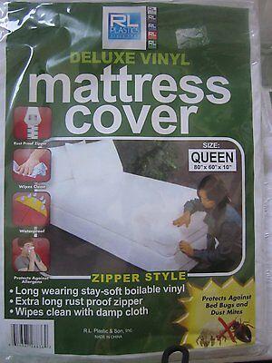 RL Plastic Deluxe Vinyl Mattress Cover Zipper Style Twin, Queen, Full  or - Zippered Plastic Mattress