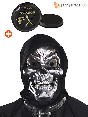 Skull Mask + Makeup Skeleton Halloween Grim Reaper Fancy Dress Costume Accessory - Mens Skull Makeup