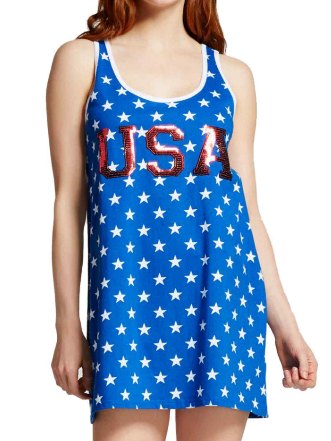 Snooze Button Womens USA Patriotic Star Sleep Shirt Sleeveless Night Gown XL Clothing, Shoes & Accessories