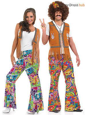 Mens 60's 70 S Kostüme (Adults 60s Psychedelic Flares Mens Ladies 70s Hippy Fancy Dress Hippie Costume)