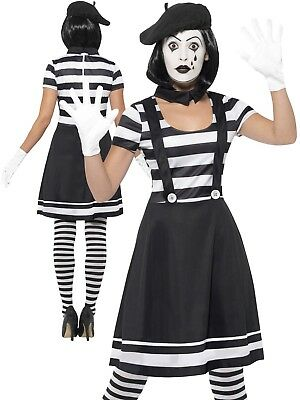 Adults Mime Artist Fancy Dress Ladies French Circus Costume Street Outfit Uk 8-1