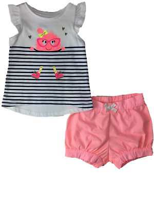 Infant Girls Neon Pink Nerdy Hipster Monster & Stripes Outfit 2 Piece Set (Nerdy Outfits)