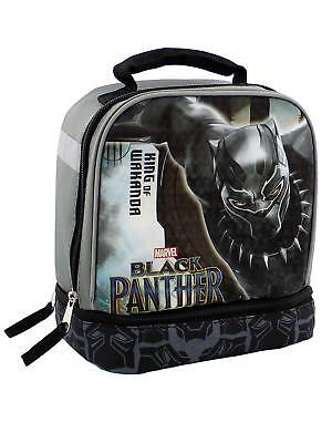 Marvel Avengers Black Panther Boy's Dual Compartment Soft Lunch Box (Black/Grey)