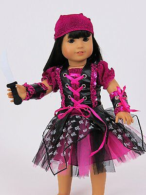 Black Girl For Halloween (Pirate Halloween Costume Pink Black 5PC Set For 18