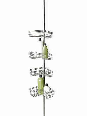 4-Shelf Satin Nickel Stainless Steel Rust-Proof Tension Pole Corner Shower Caddy Nickel Satin Shower Caddy