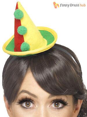 Adults Cute Clown Hat Ladies Circus Fancy Dress Accessory Carnival Hen (Cute Clown Kostüm)