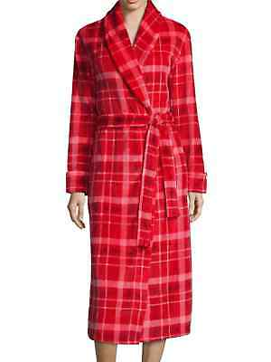 Red Fleece Bath Robe (Sleep Chic Womens Red Plaid Fleece Bath Robe Plush Housecoat )