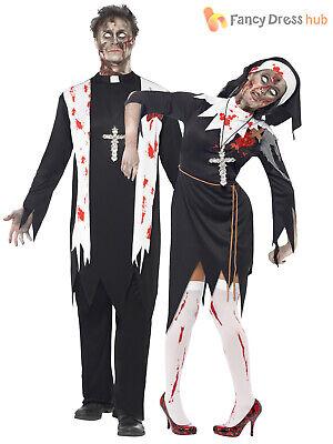 Mens Ladies Zombie Bloody Nun Vicar Priest Halloween Fancy Dress Couples Costume