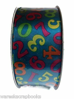 10 Yards Blue Double Face Satin Numeric Print Ribbon By Creative Ideas 1-1/2