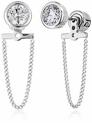 NEW MICHAEL KORS SILVER TONE CHAIN+LARGE CRYSTALS STUD EARRINGS MKJ5847