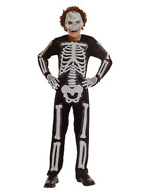 Boys Skeleton Bones Halloween Costume Mask Jumpsuit & Hands