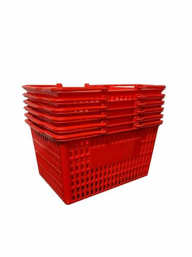 NEW 6 Standard Shopping Baskets - Plastic Handles- Red