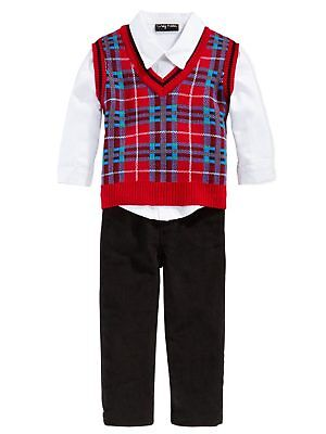 Only Kids Infant Boys 3 Piece Dress Up Outfit Pants Shirt & Red Sweater Vest
