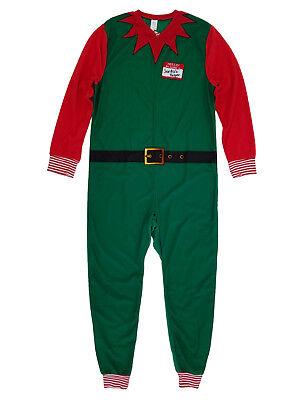 Mens Christmas Elf Costume Union Suit Holiday Fleece Pajamas - Mens Elf Pajamas