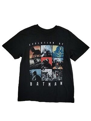DC Comics Mens Black Evolution Of Batman The Dark Knight Graphic Tee T-Shirt M