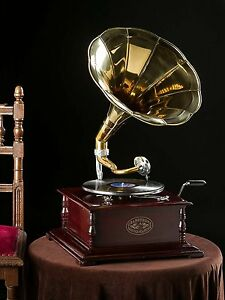 Gramophone With Brass Horn ~ Record Player - 78 rpm vinyl phonograph