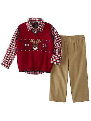Infant & Toddler Boys Holiday Suit Outfit Reindeer Vest Plaid Shirt & Pants Boys Holiday Plaid Vest
