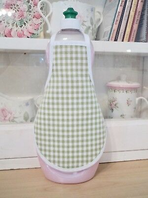 Green Gingham Kitchen Bathroom Dish Hand Soap Lotion Bottle Apron -  fits 25 oz