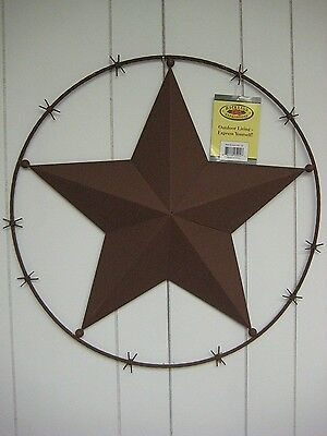 BNIB BACKYARD EXPRESSIONS Outdoor Living- Texas Metal Barbed Wire LONE STAR Wall