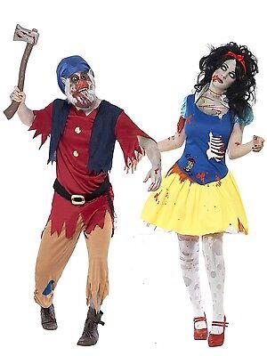 Paar Damen Herren Zombie Schneewittchen & Zwerg Halloween Kostüm (Schneewittchen Zwerg Halloween-kostüm)