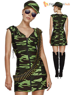 Ladies Fever Combat Girl Costume Adults Army Fancy - Combat Girl Kostüme