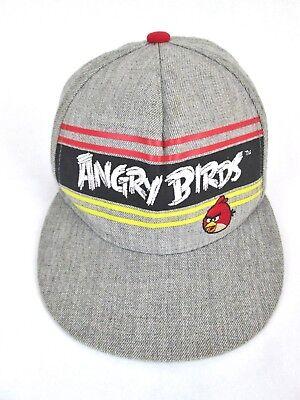 Angry Birds Cap Bird is the Word Flat Bill Gray Snapback Hat Wool Blend Gray