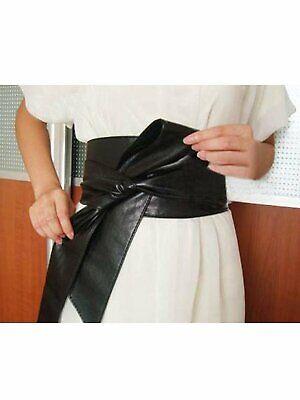 Women PU Leather Soft Self Tie Bowknot Band Wrap Around Sash Obi Belt Black](Sash Belt)