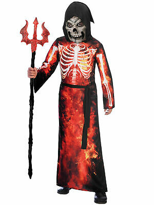 Boys Grim Reaper Costume Devil Halloween Fancy Dress Outfit Kids Scary Skeleton