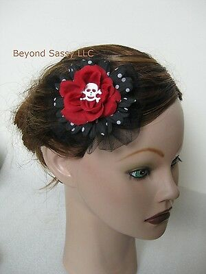 New Halloween Red Black Silk Flower Skull Gothic Rose Flower Hair Clip](Halloween Red Hair)